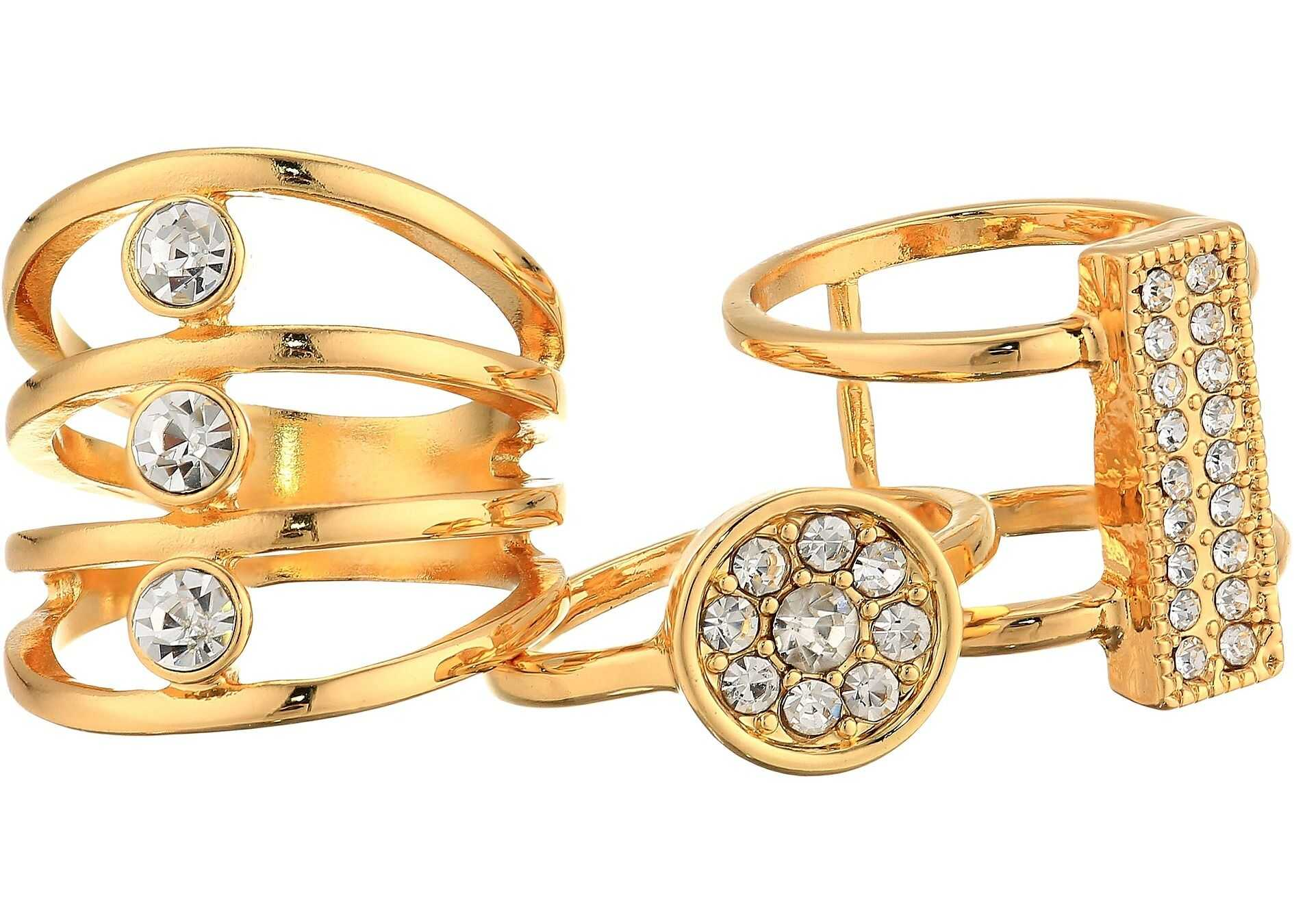 GUESS Three-Piece Ring Set with Crystal Stones Gold