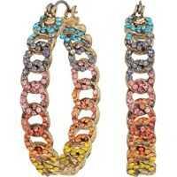 Cercei Curb Hoop Hinge Earrings Femei