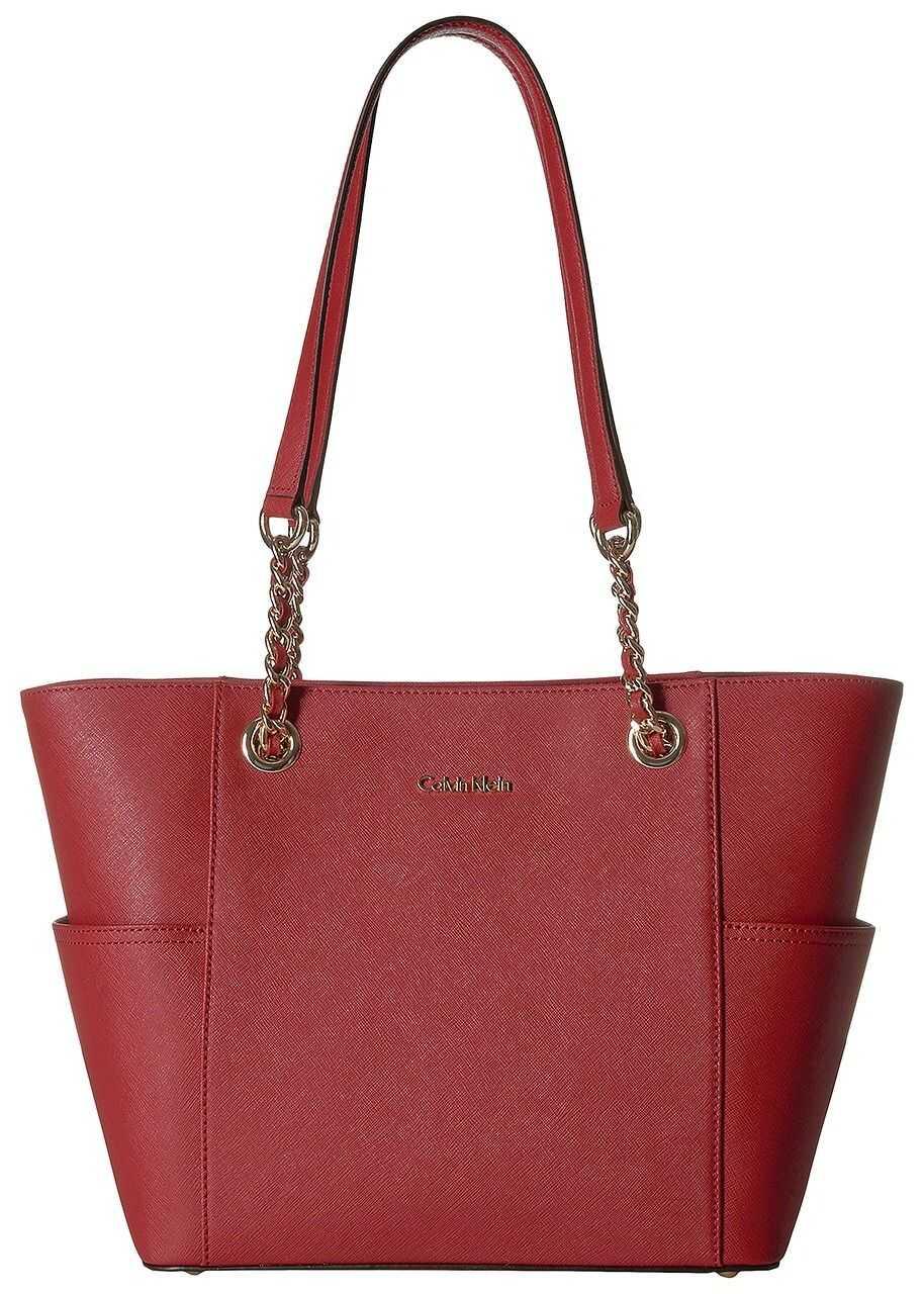 Calvin Klein Saffiano Chain Tote Red