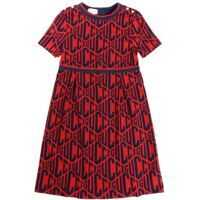Rochii casual Red Dress With All-Over Logo Embroidery Fete