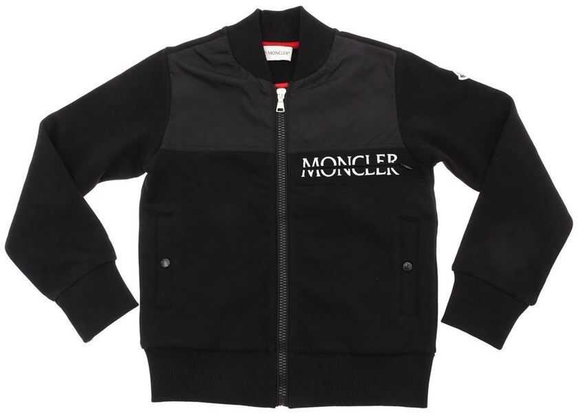 Topuri Baieti Moncler Kids Black Sweatshirt With Embroidered Logo