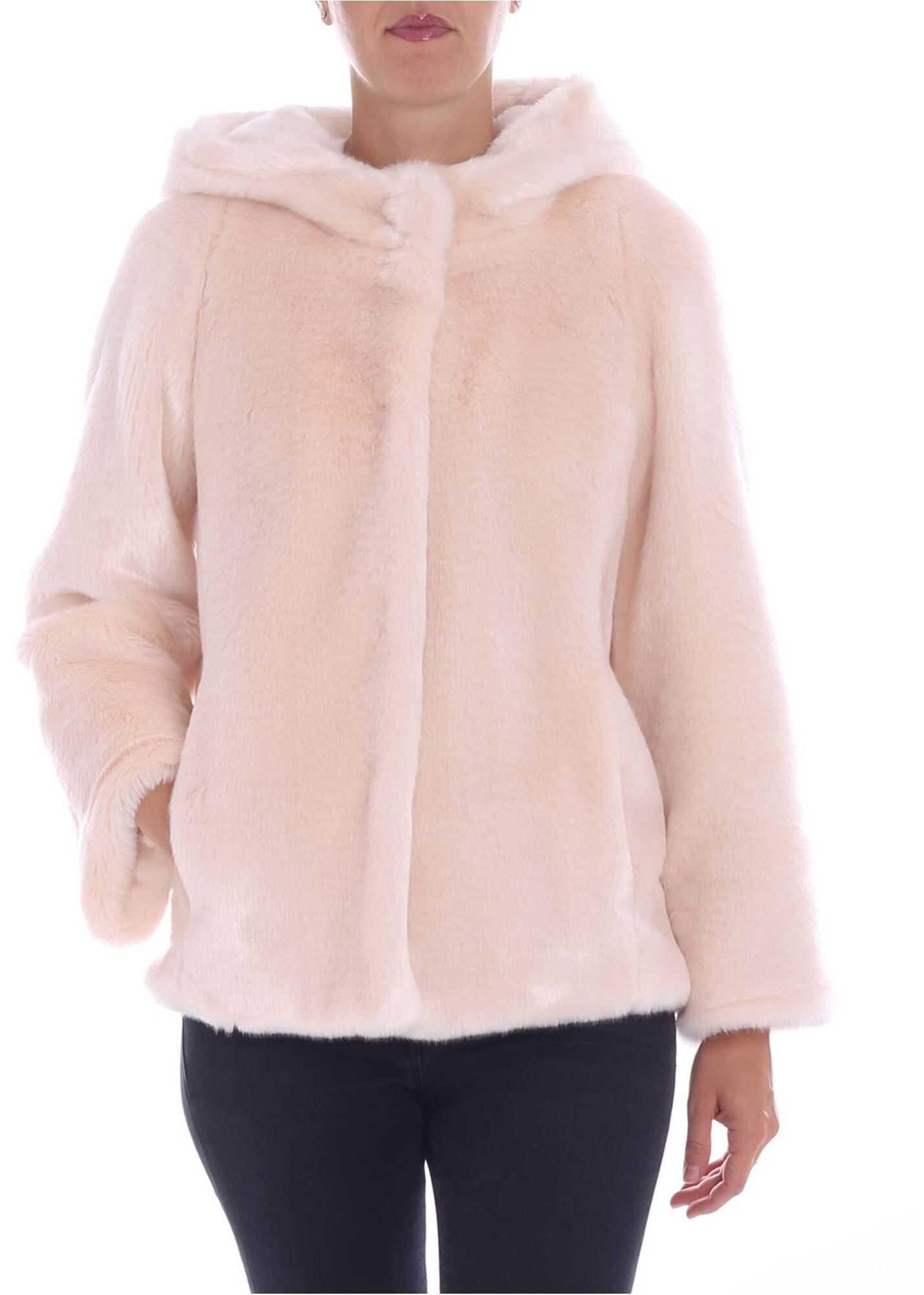 Tagliatore Pink Hooded Eco-Fur Jacket Pink