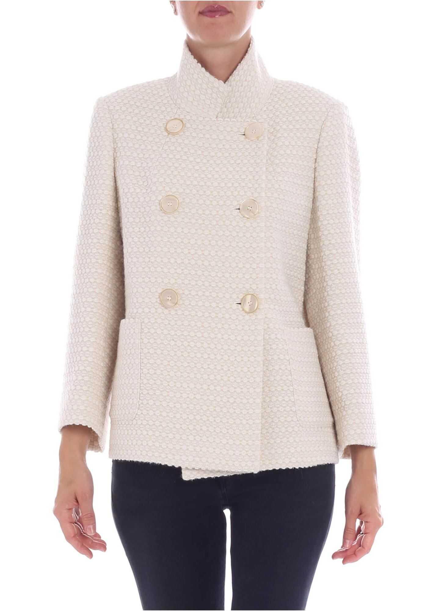 Cream-Colored Double-Breasted Tullia Coat