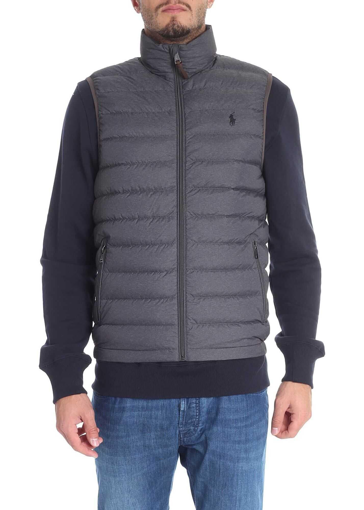 Ralph Lauren Dark Grey Down Jacket With Logo Embroidery Grey