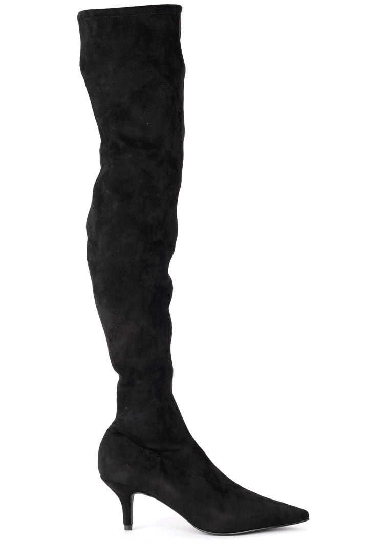 Steve Madden Rush Lack Elastic Suede Boots Black