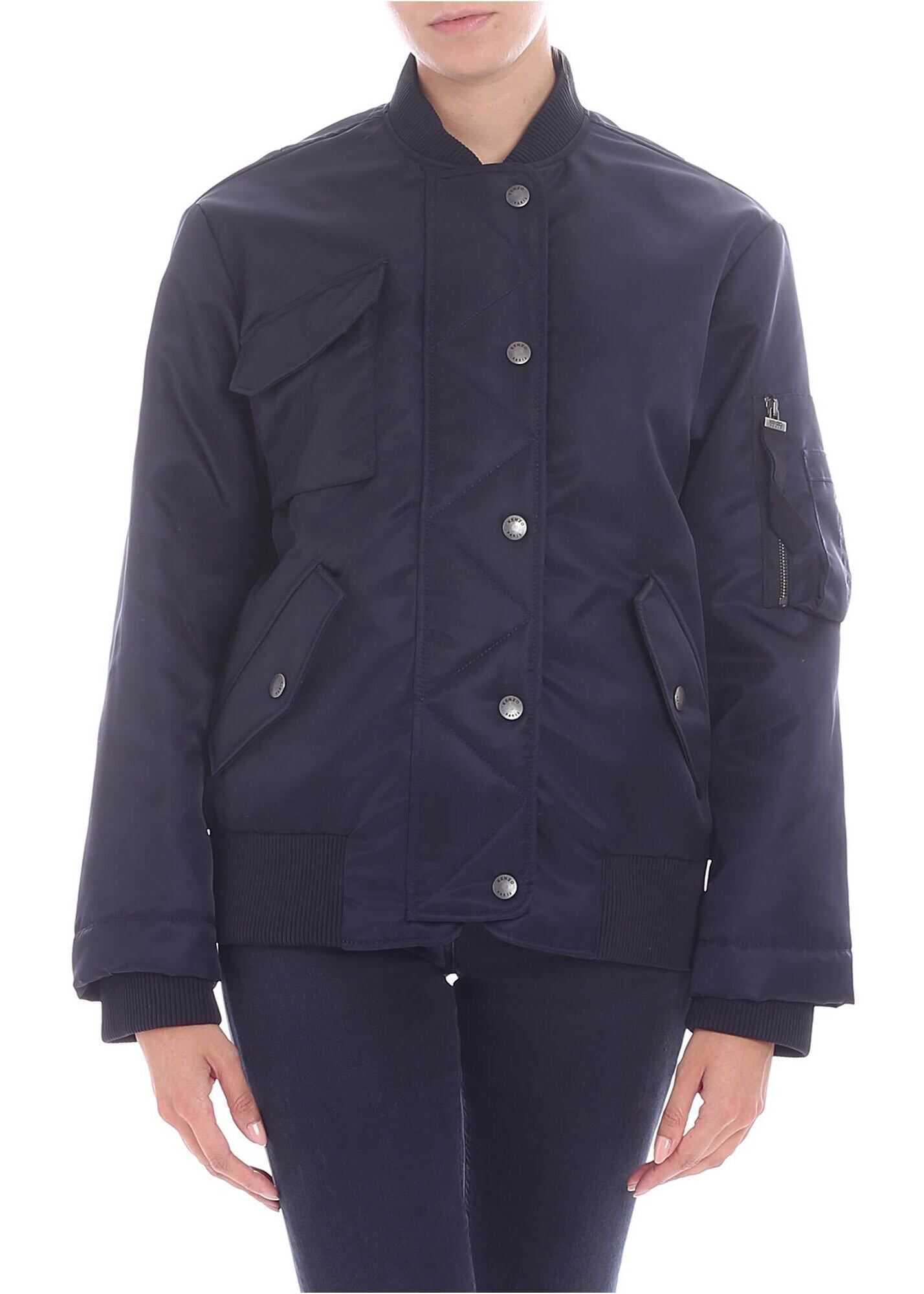 Blue Overfit Bomber Jacket