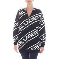 Pulovere Karl Lagerfeld Black And White Jacquard Cardigan