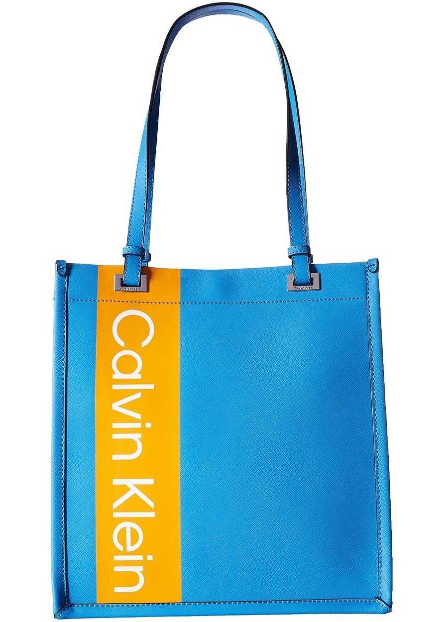 Calvin Klein Saffiano Leather North/South Tote Air Blue Multi