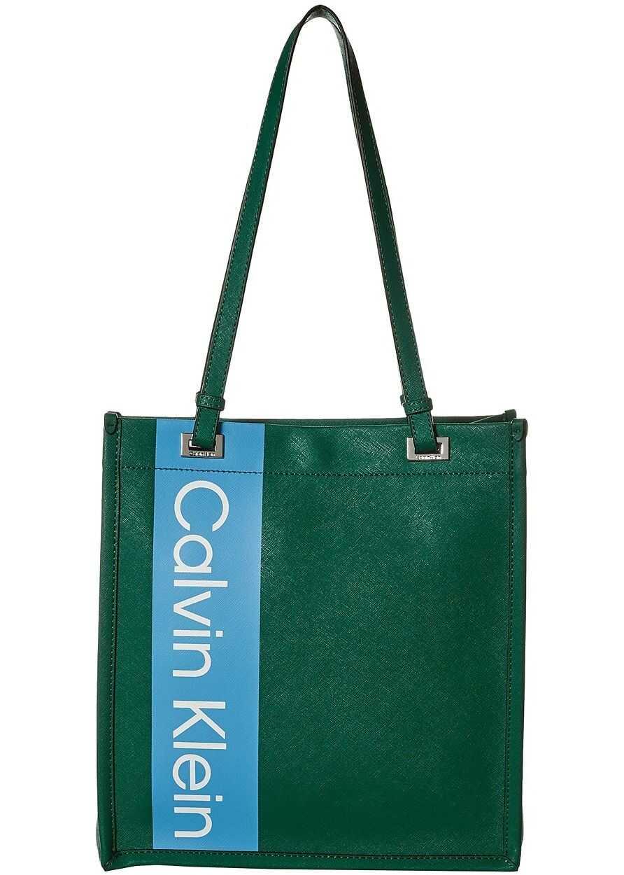 Calvin Klein Saffiano Leather North/South Tote Rich Emerald