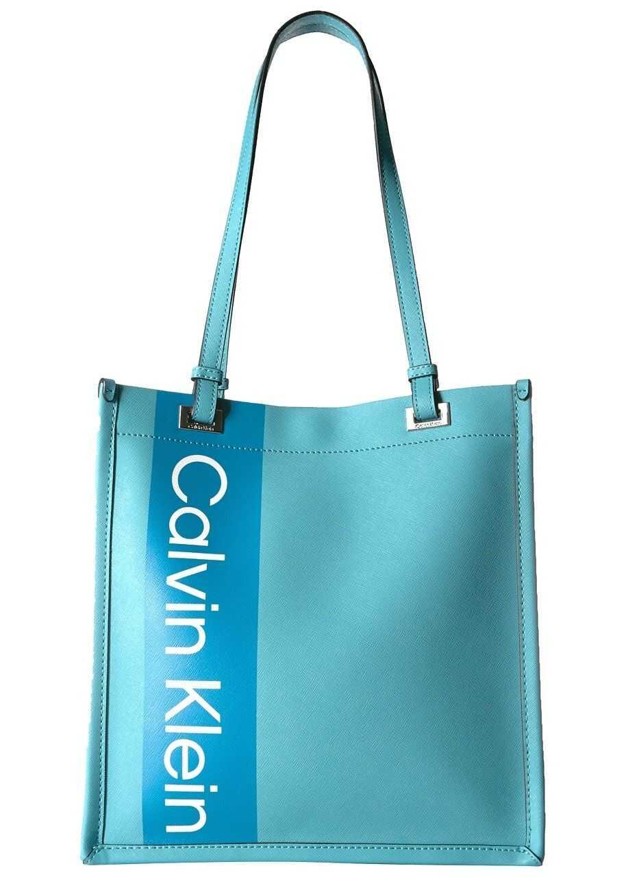 Calvin Klein Saffiano Leather North/South Tote Cornflower Blue