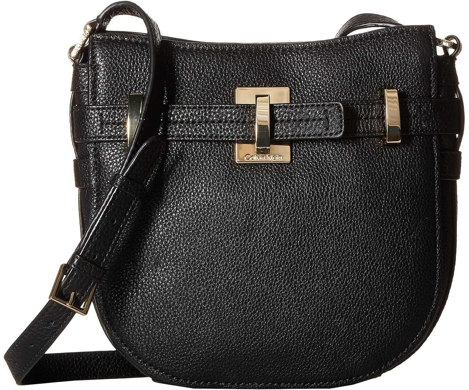 Calvin Klein Faye Pebble Leather Messenger Black/Gold