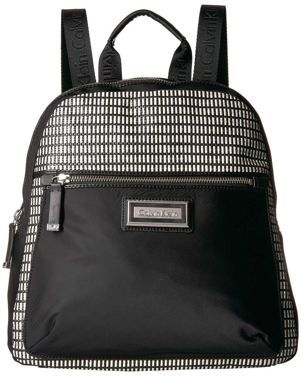 Calvin Klein Belfast Nylon Raffia Backpack White/Black
