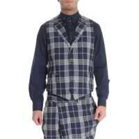 Pulovere Check Blue Wool Vest Barbati