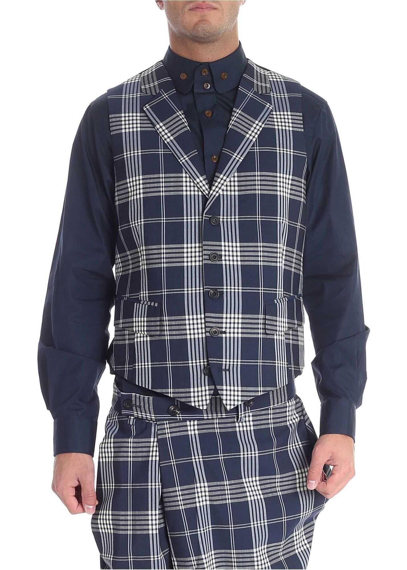 Vivienne Westwood Check Blue Wool Vest Blue imagine