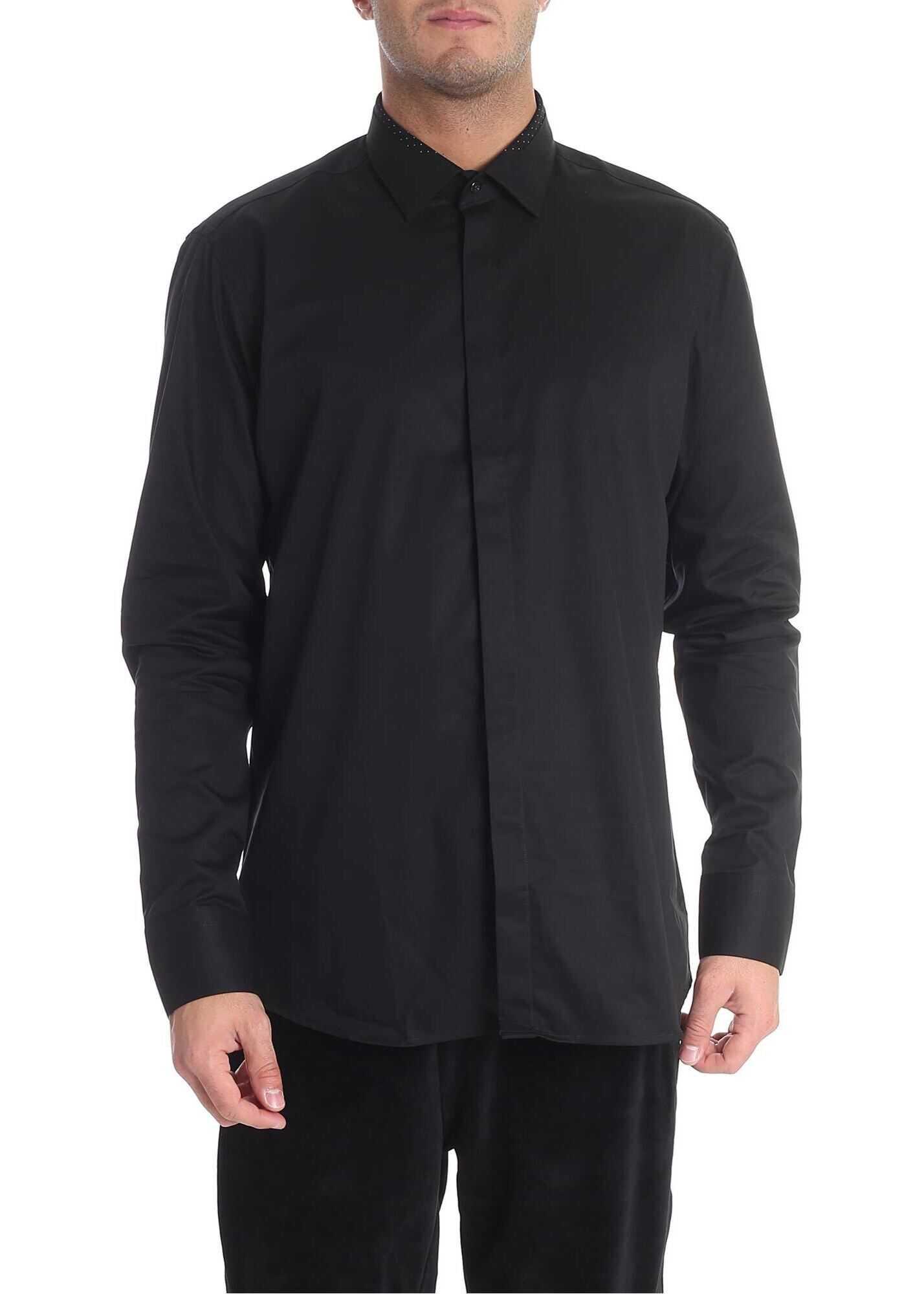 Karl Lagerfeld Black Shirt With Polka Dot Insert Black imagine