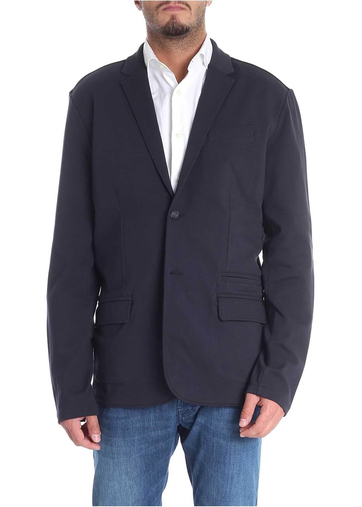 Karl Lagerfeld Blue Milano Fabric Jacket Blue