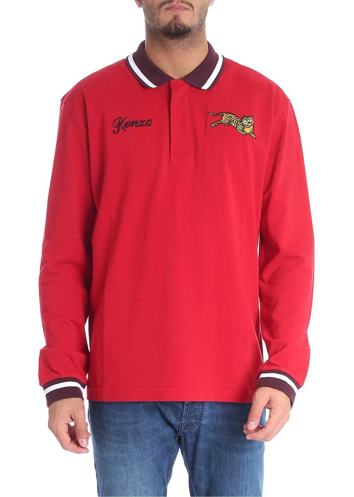 """Kenzo """"Jumping Tiger"""" Red Polo Red imagine"""