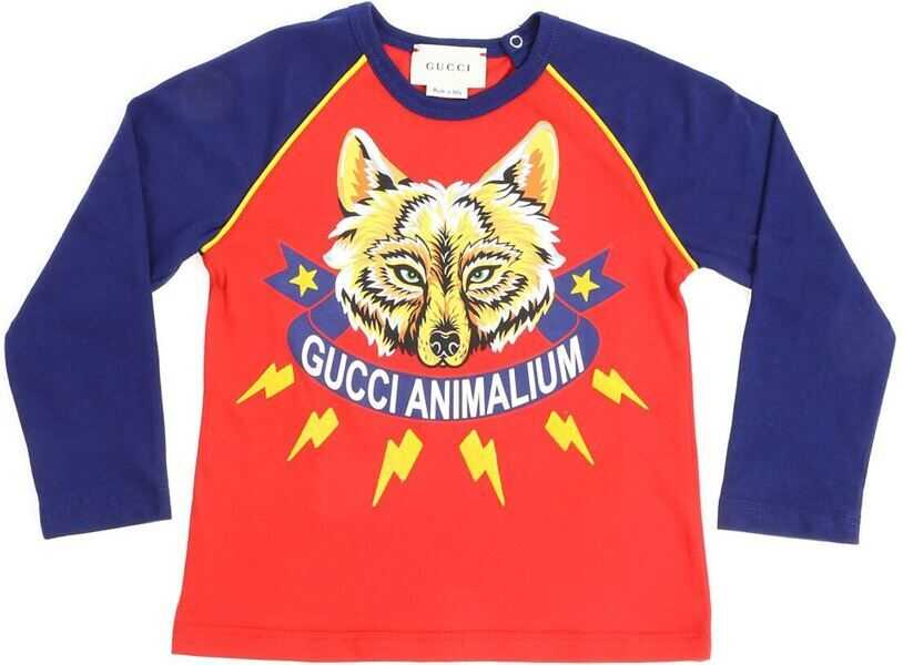 Tricouri Baieti Gucci Red And Blue T-Shirt With Fox Print