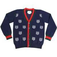 Pulovere Blue Cardigan With Tiger Inlays Baieti