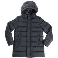 Geci de Puf Black Down Jacket With Green Rubberized Logo Baieti