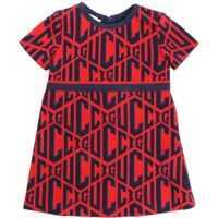 Rochii casual Red Dress With All-Over Blue Logo Embroidery Fete
