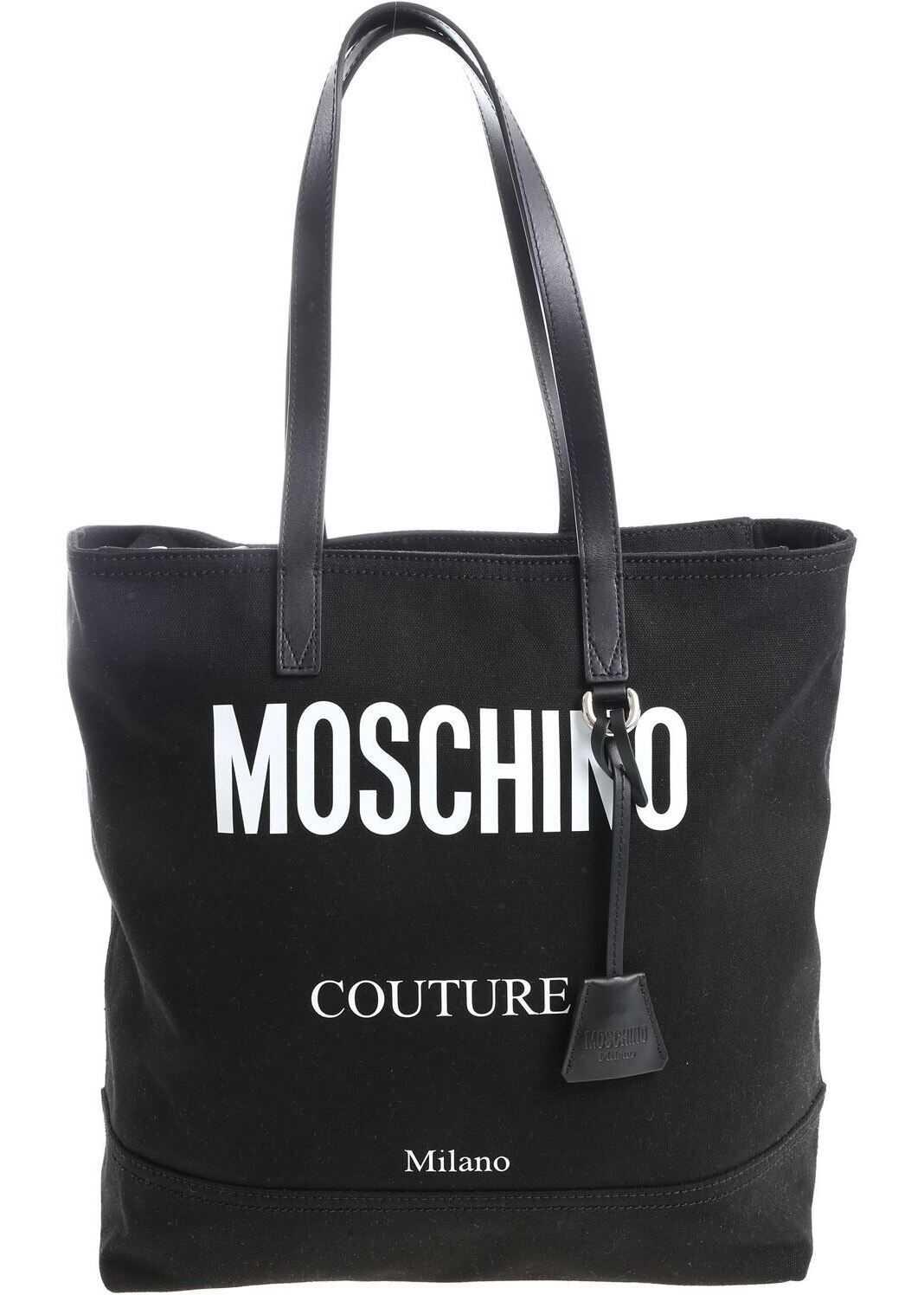 Moschino Black Fabric Shopper With Logo 7423 8203 1555 Black imagine b-mall.ro