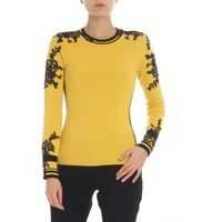 Pulovere casual Yellow Pullover With Black Lace Embroidery Femei