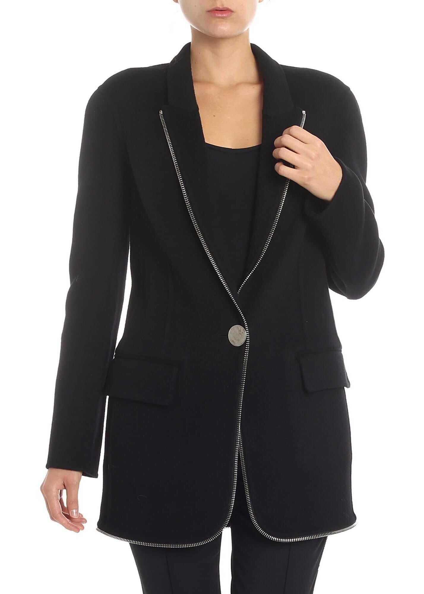 Alexander Wang Black Coat With Applied Zip Black