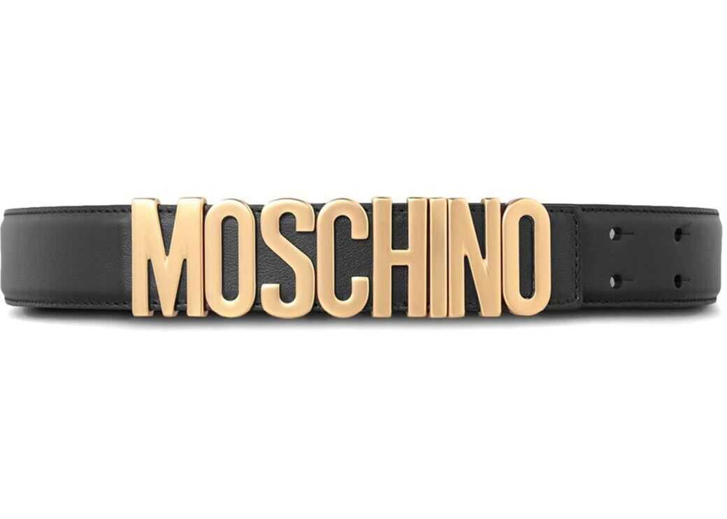 Moschino Black Moschino Belt With Golden Logo Black