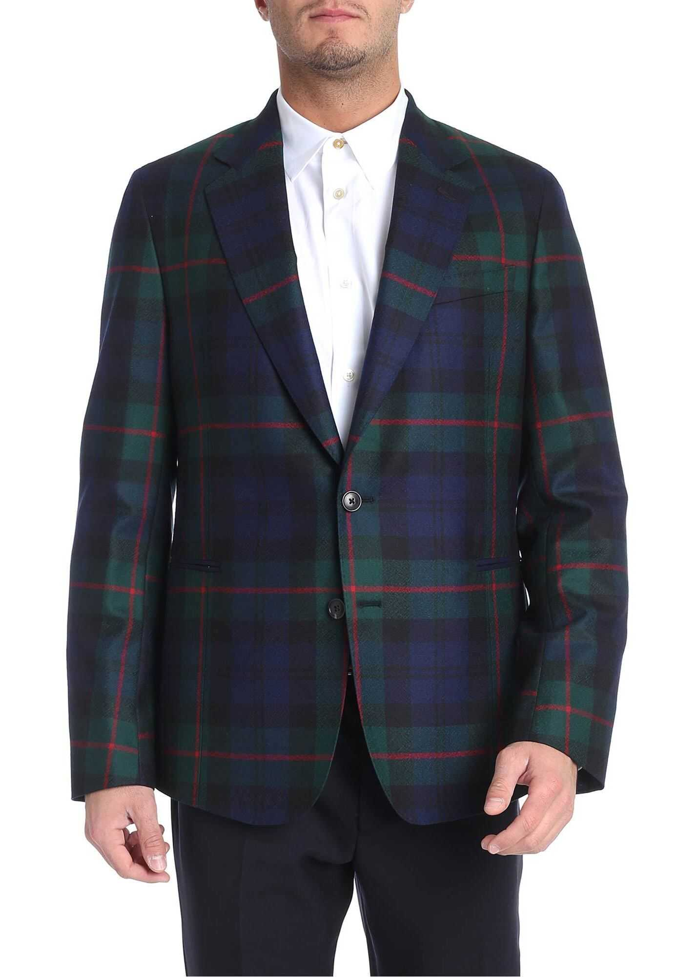 Paul Smith Two-Button Scottish Fabric Jacket Blue