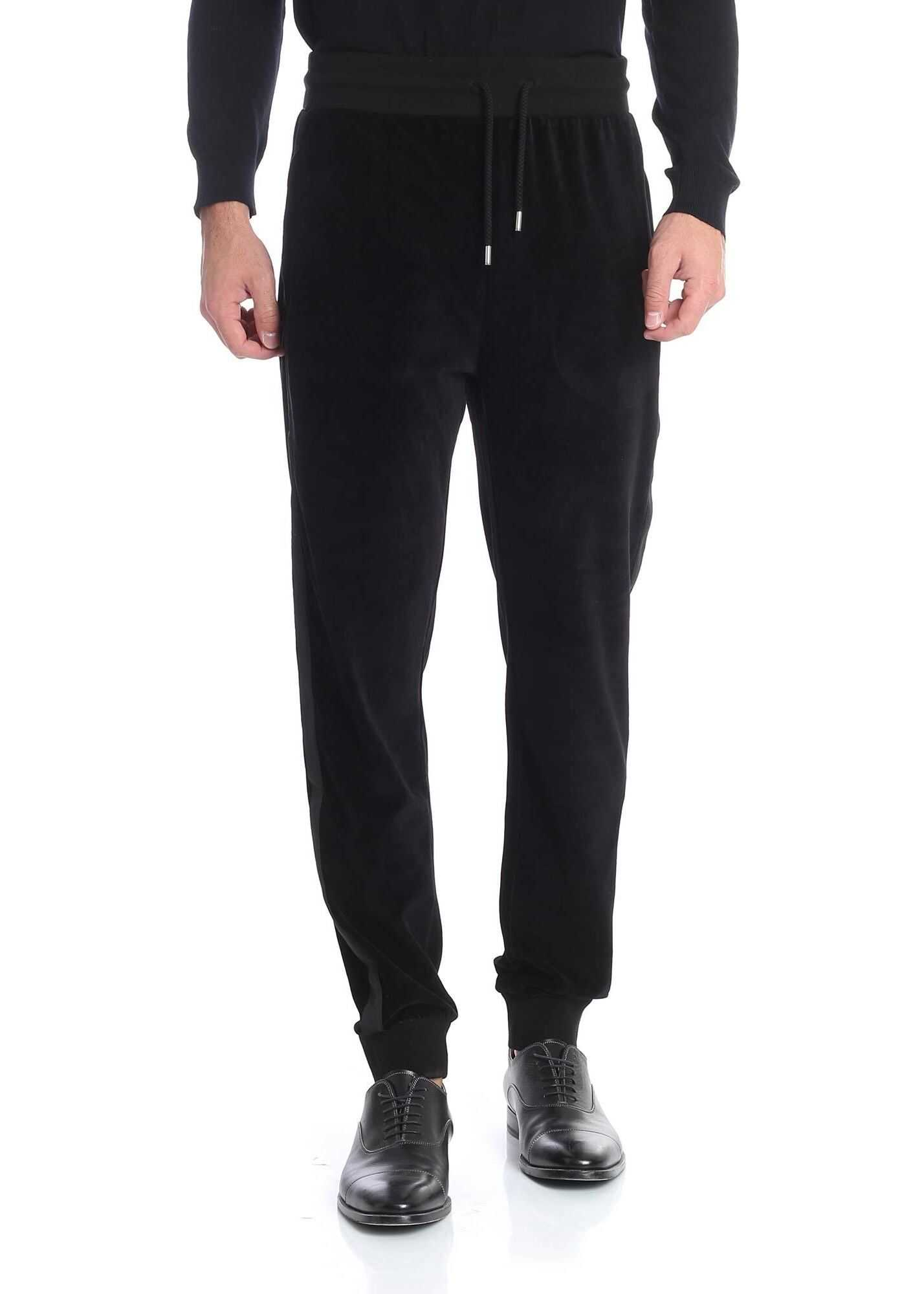 Karl Lagerfeld Black Chenille Trousers With Drawstring Black