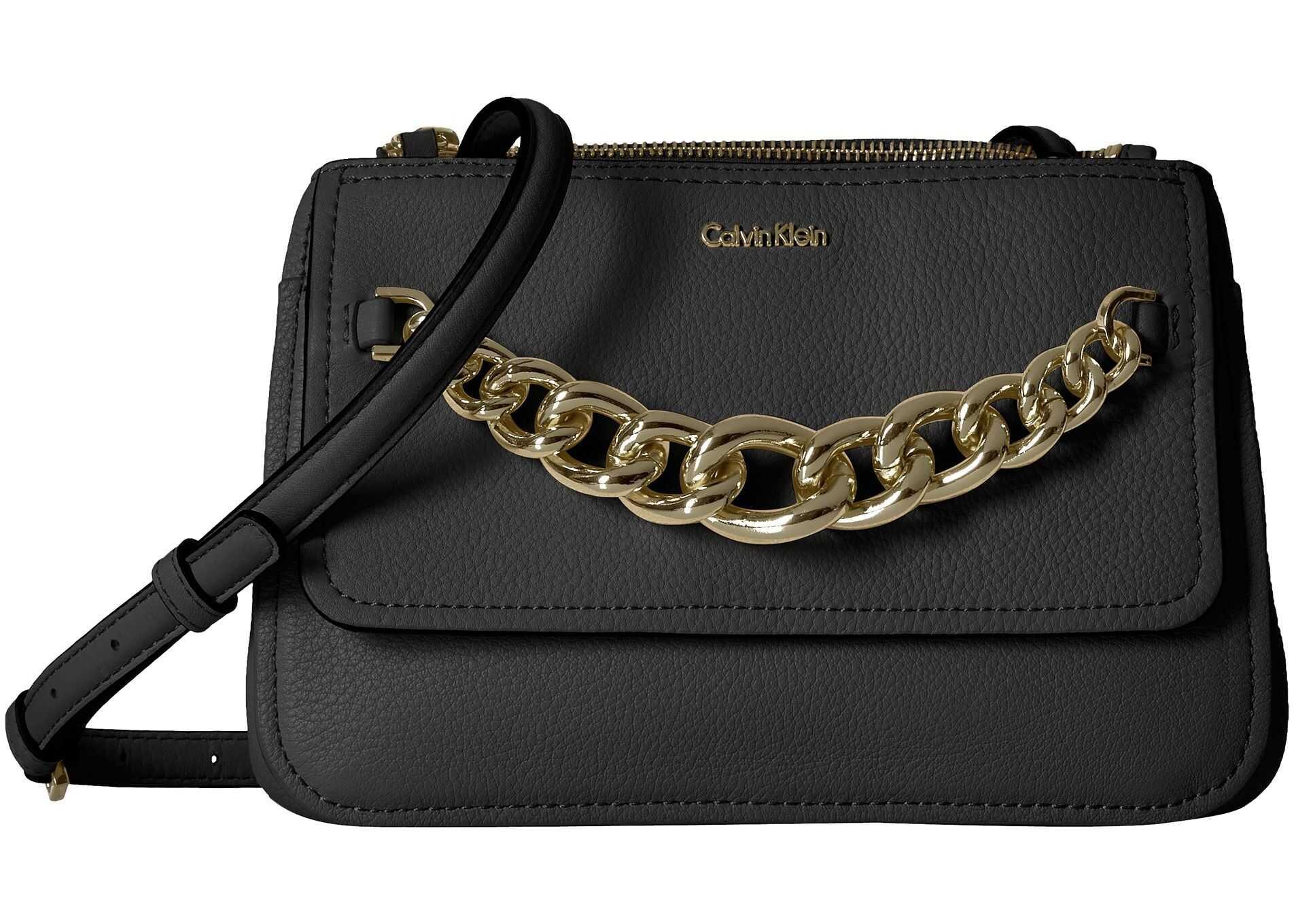 Calvin Klein Pebble Leather Flap Crossbody Black/Gold