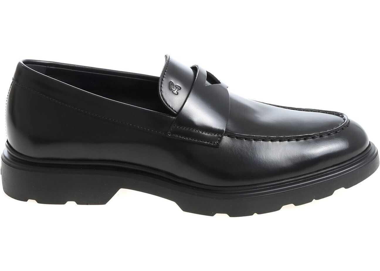 "Hogan ""H393"" Black Loafers HXM3930X2306Q6B999 Black imagine b-mall.ro"