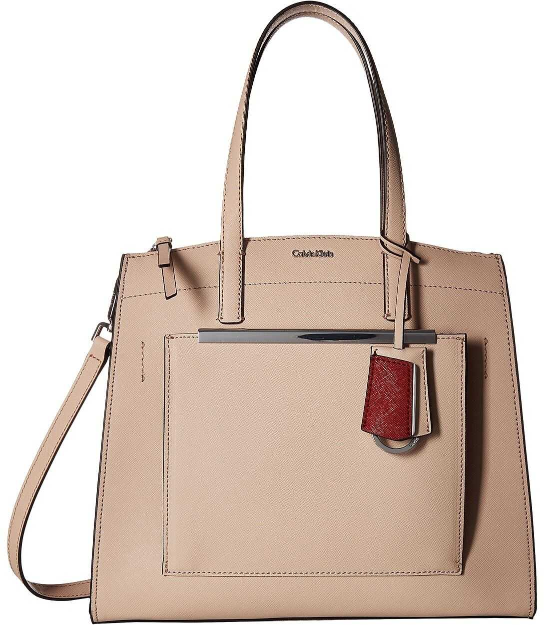Calvin Klein Mara Saffiano Leather Satchel Desert Taupe