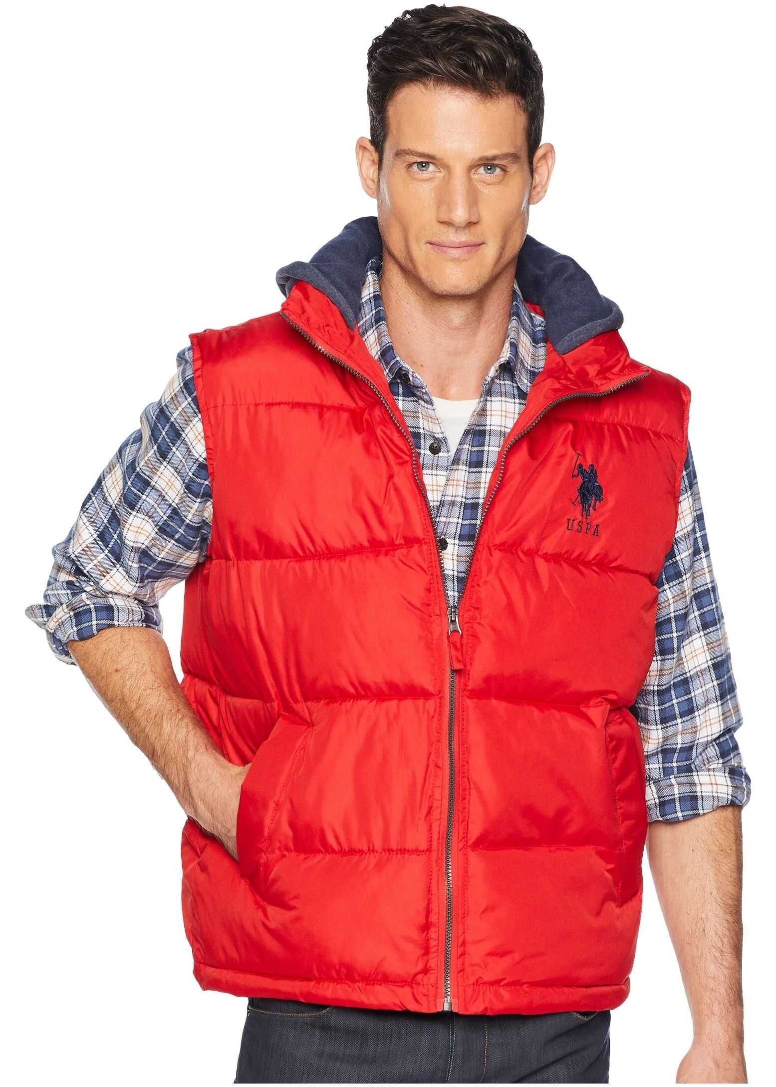U.S. POLO ASSN. Hooded Basic Vest Engine Red