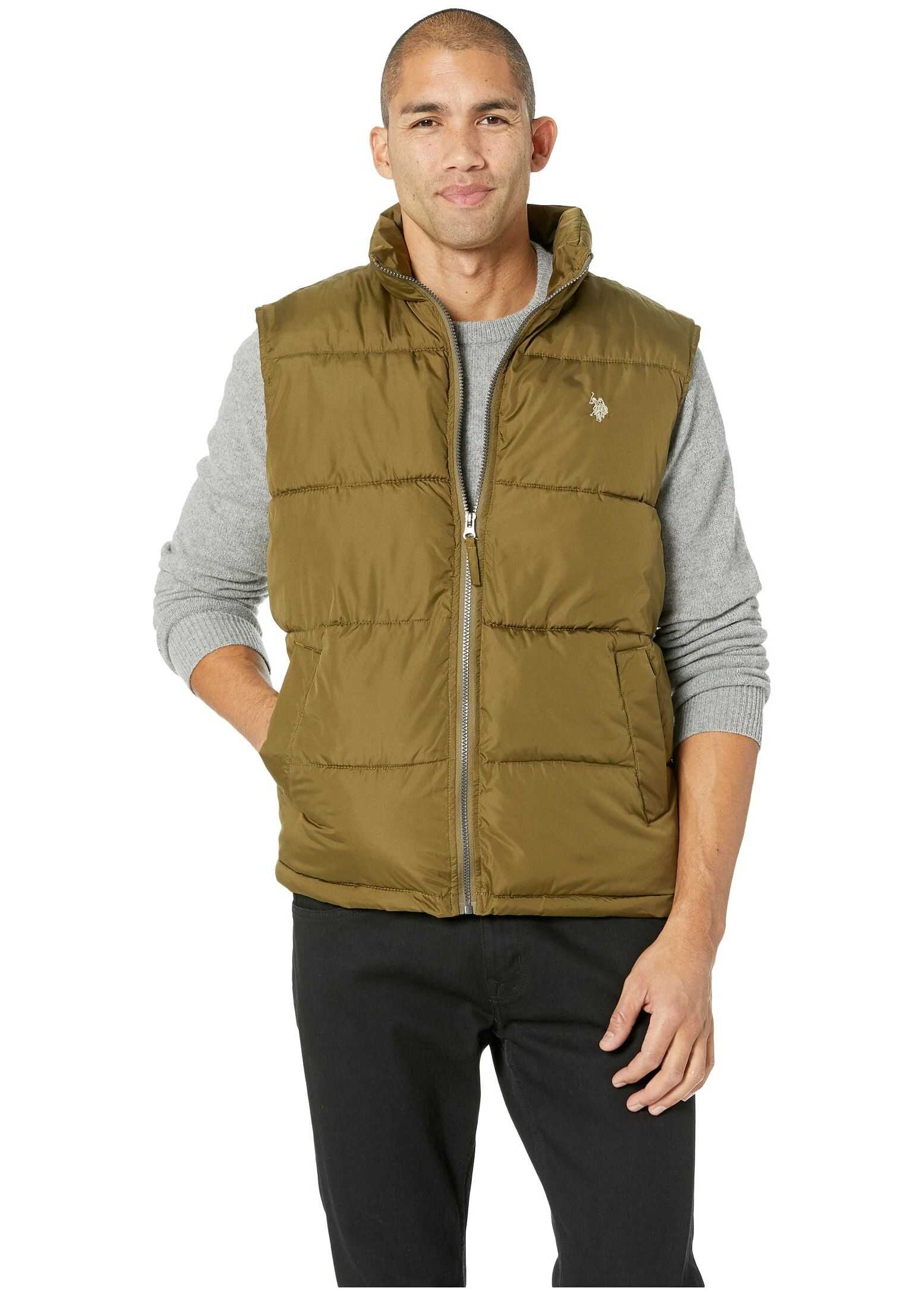 U.S. POLO ASSN. Basic Vest Small Horse Army Green