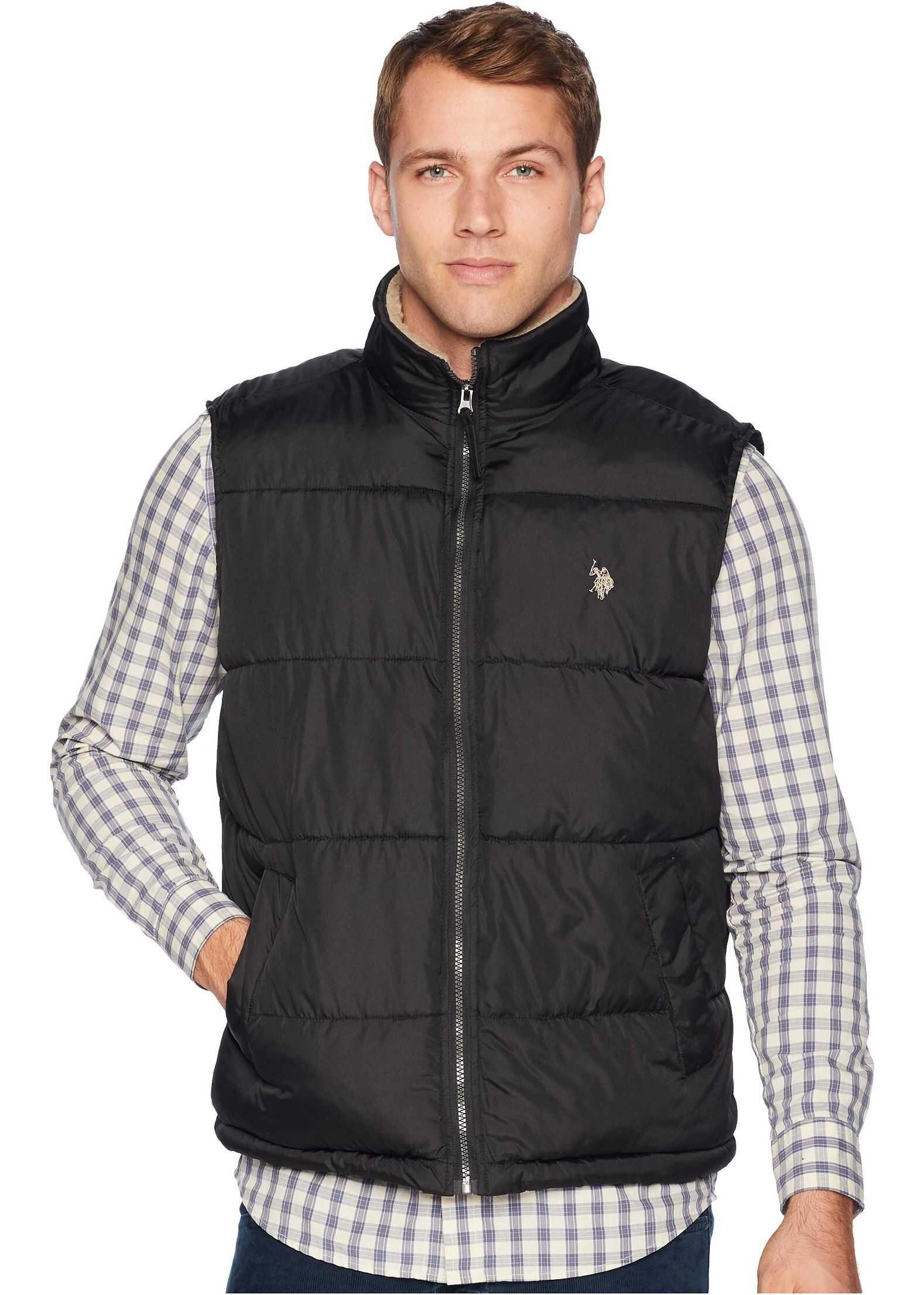 U.S. POLO ASSN. Signature Vest Sherpa Collar Black