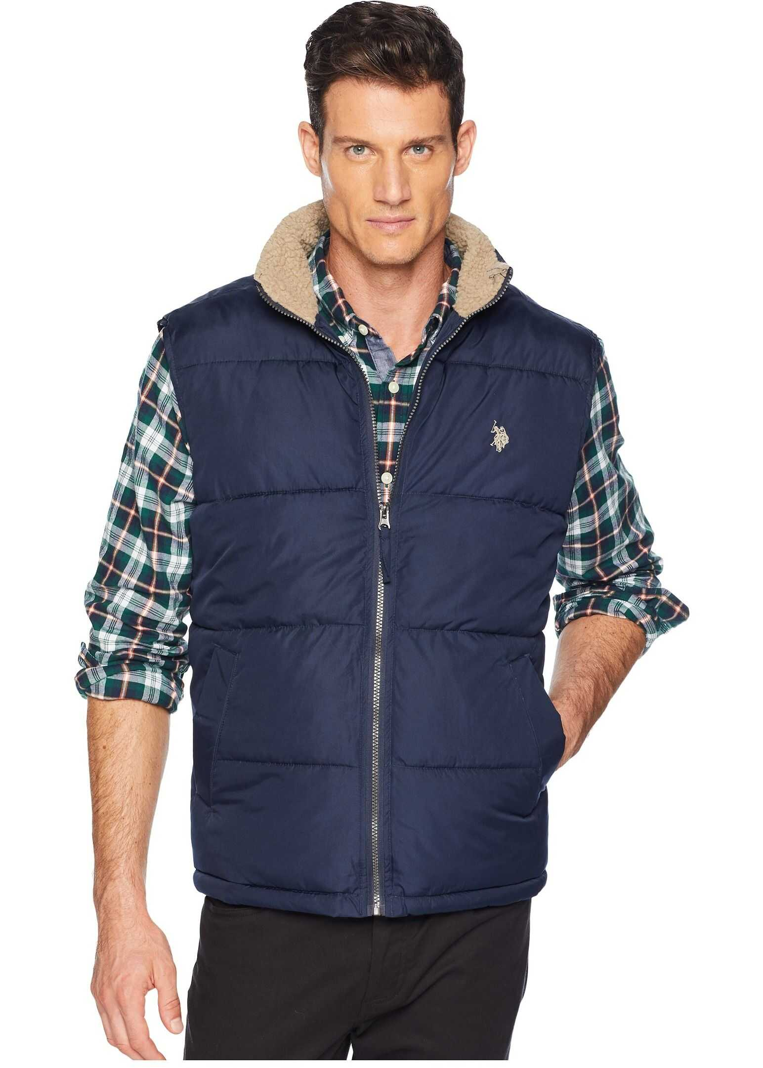 U.S. POLO ASSN. Signature Vest Sherpa Collar Classic Navy