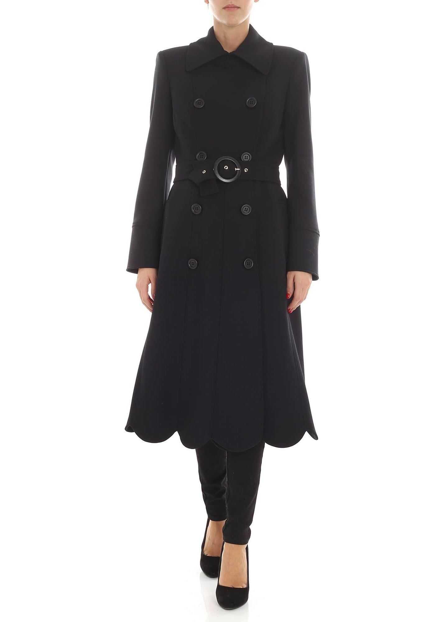 Elisabetta Franchi Black Coat With Asymmetric Bottom Black