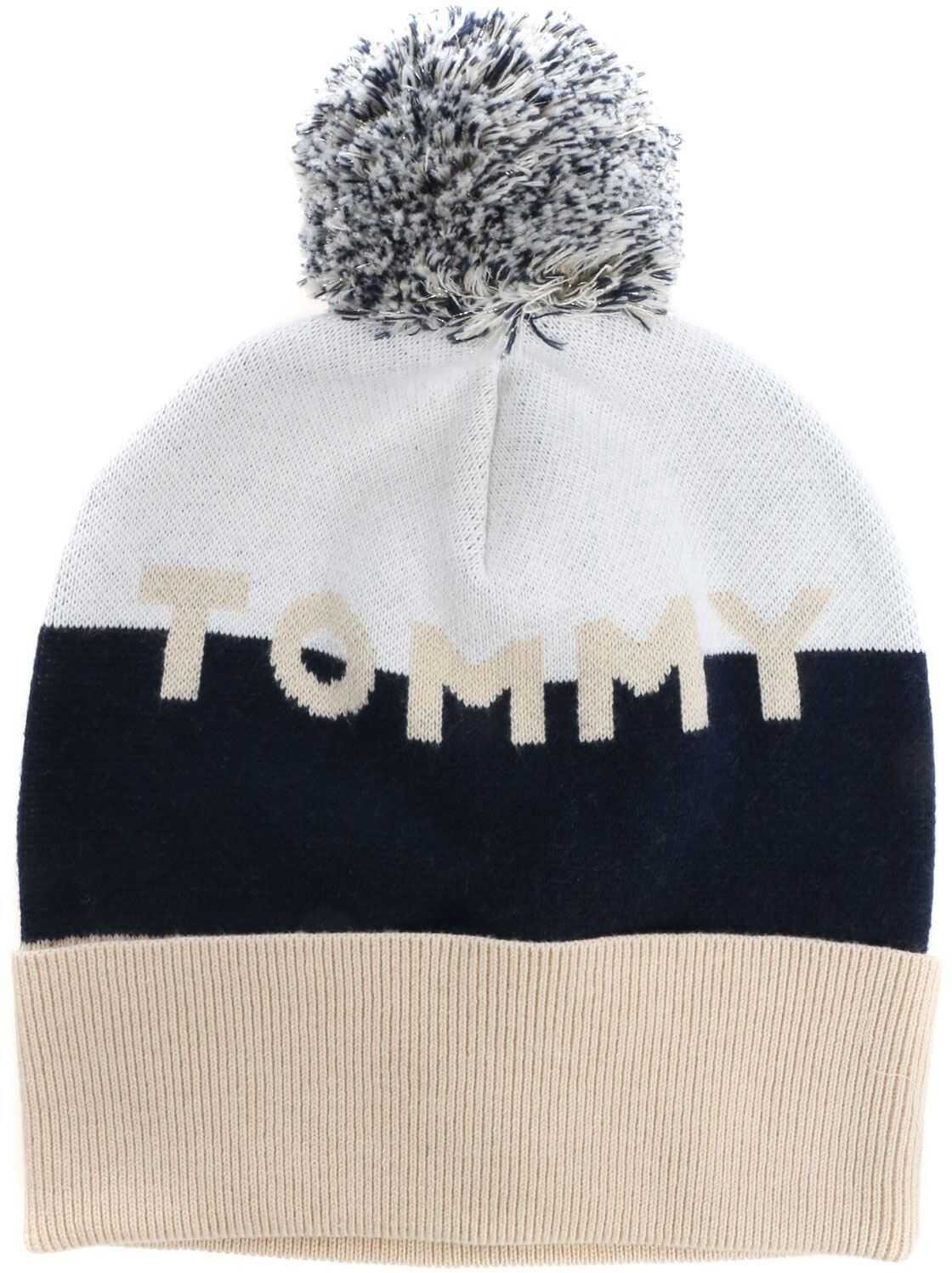 Tommy Hilfiger Colorblock Beanie With Logo White