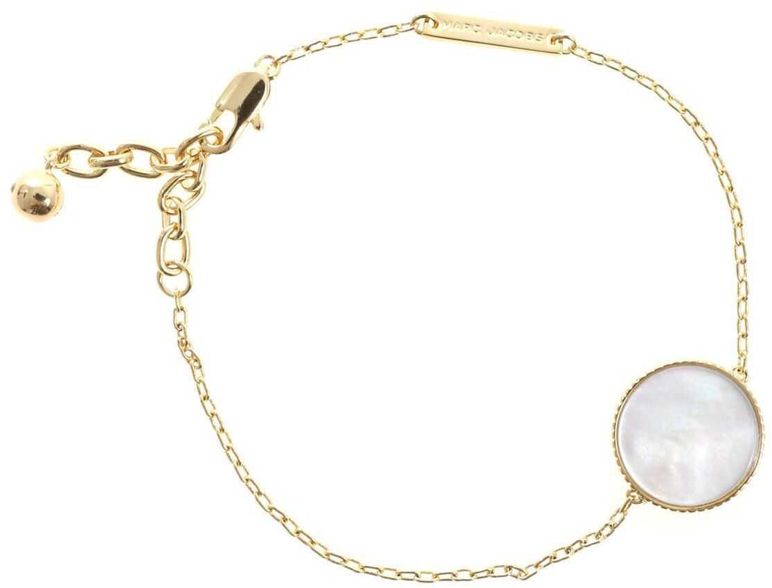 Marc Jacobs Golden Pearlescent Chain Logo Bracelet Gold