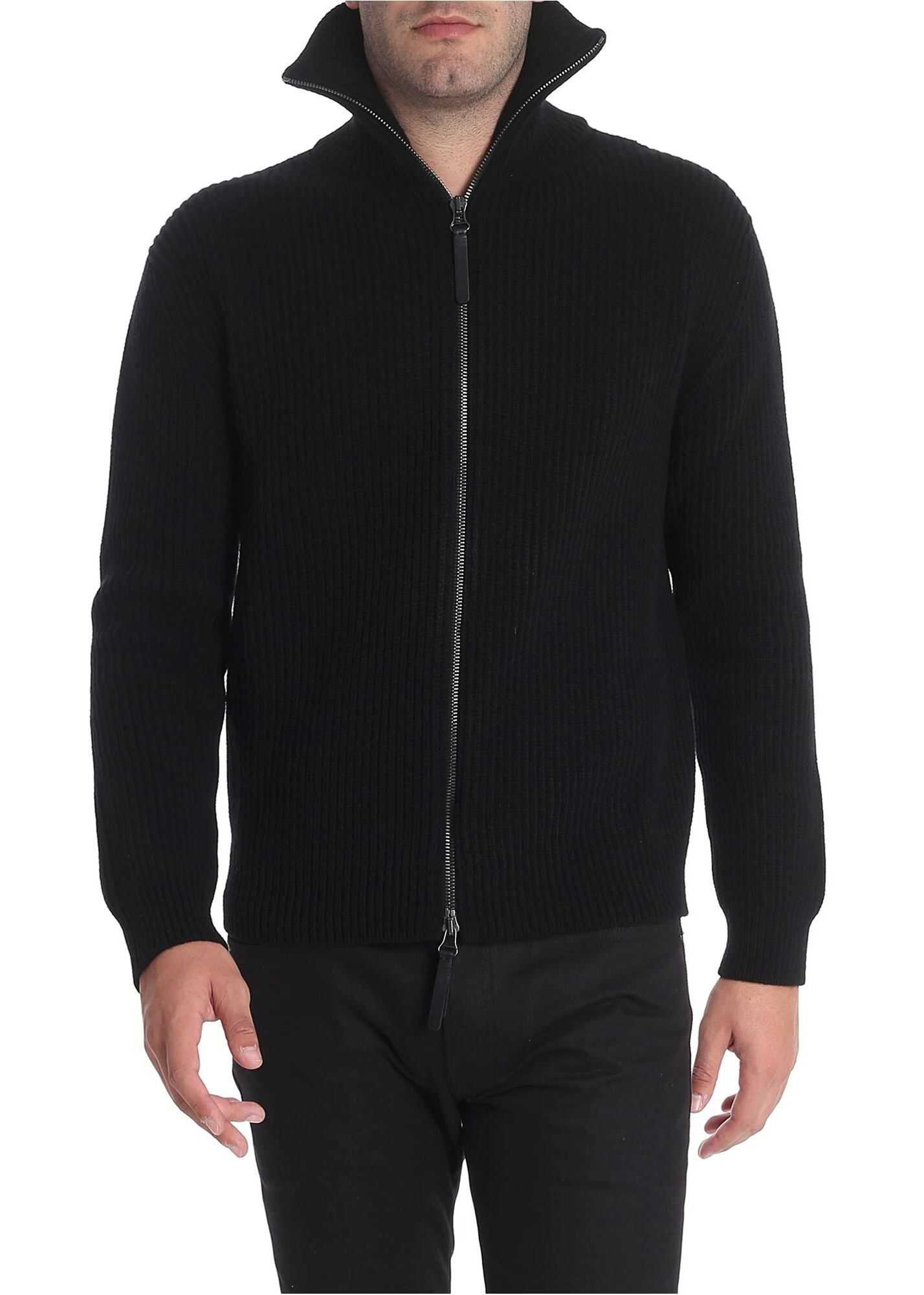 Ermanno Scervino Black Fisherman Ribbed Cardigan Black