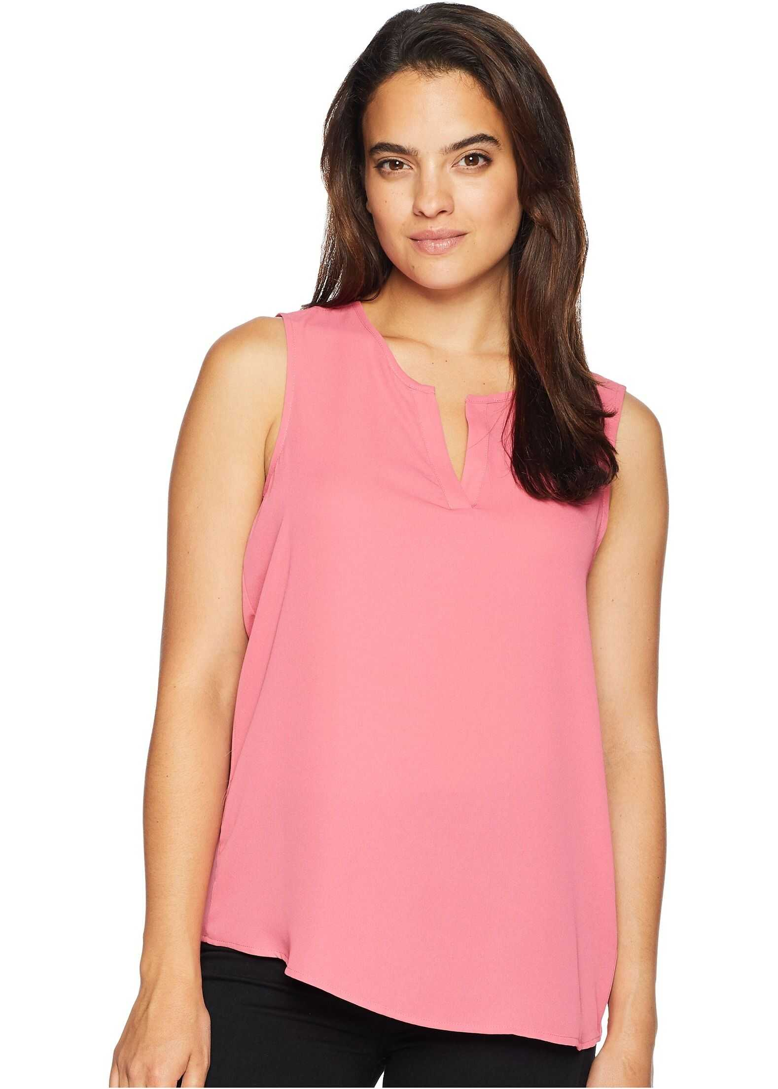 Ivanka Trump Sleeveless V-Neckline Top with Side Button Detail Vintage Pink