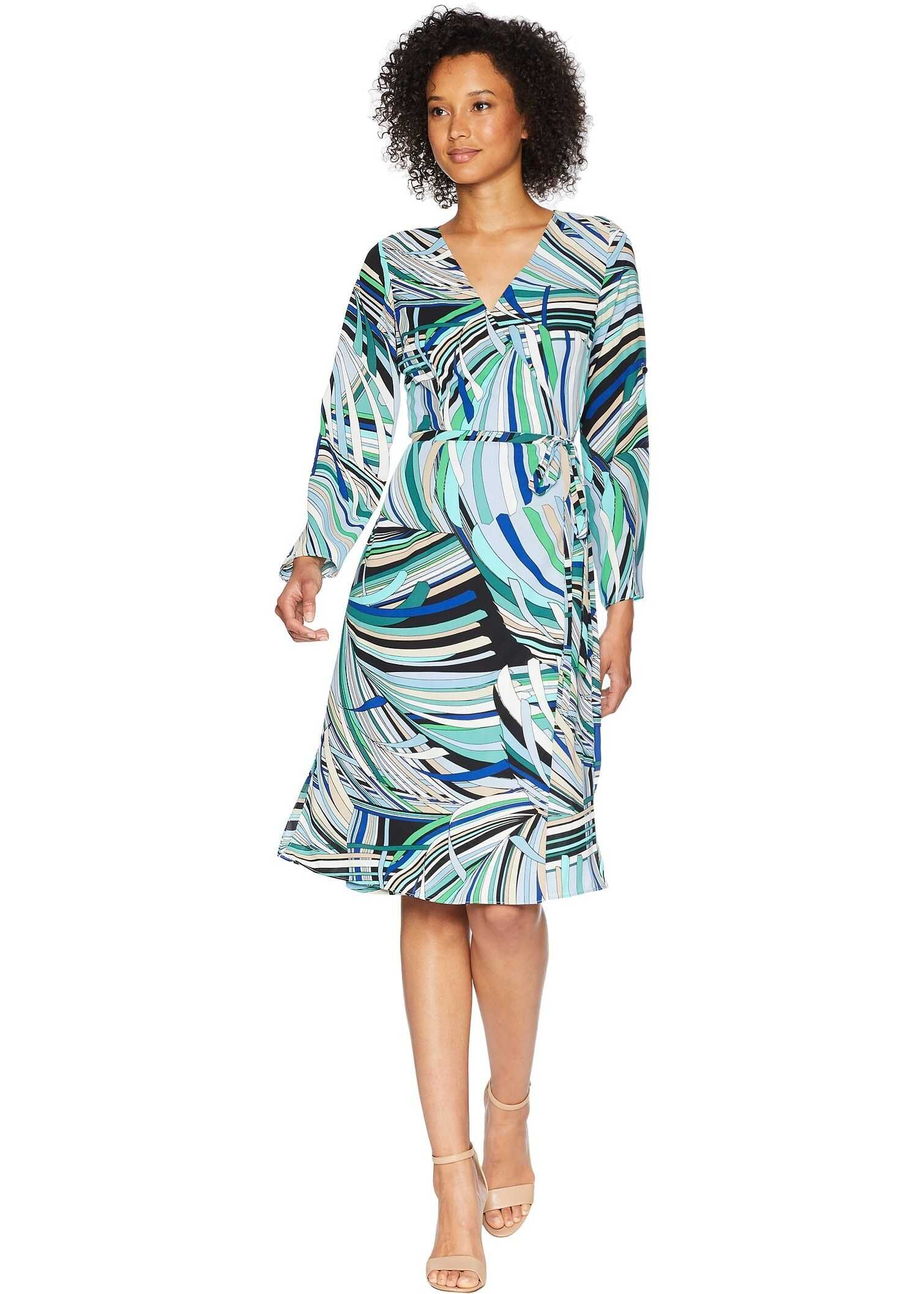 Adrianna Papell Emilio Maze Midi Wrap Dress Blue/Green Multi