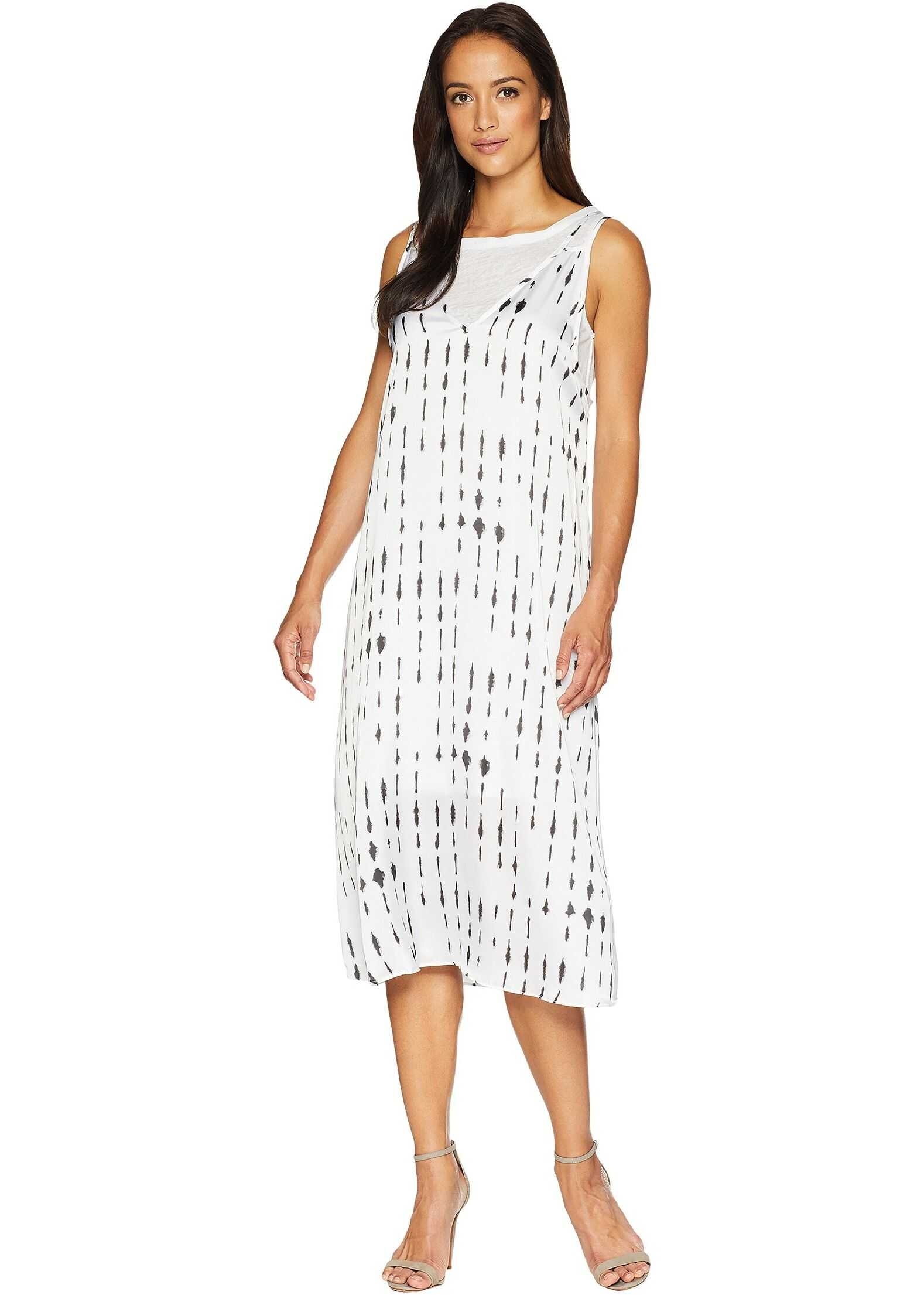 Kenneth Cole New York 2 Layered Tank Dress Inkwell/White Combo