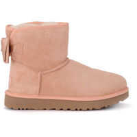 Ghete & Cizme UGG Mini Bailey Bow Pink Sheepskin Ankle Boots With Satin Bow.