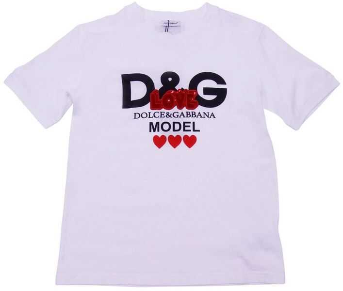 Tricouri Baieti Dolce & Gabbana White T-Shirt With Logo And Sequins