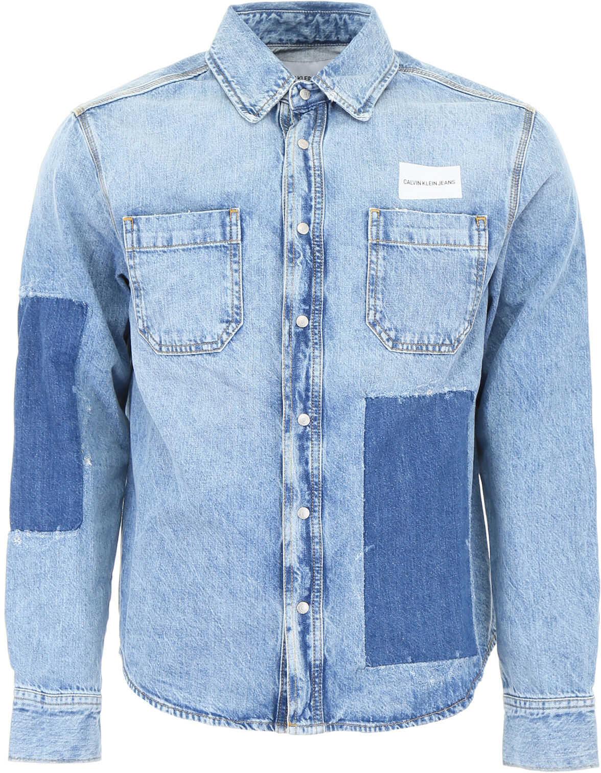 Calvin Klein Jeans Patchwork Denim Shirt NIKKI BLUE
