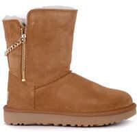 Ghete & Cizme Classic Short Sparkle Zip Brown Suede Ankle Boots Femei