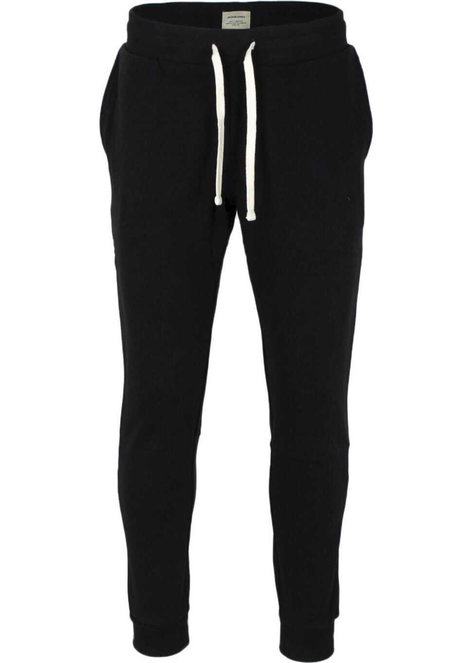 JACK & JONES 12136887Blk Cotton Joggers BLACK
